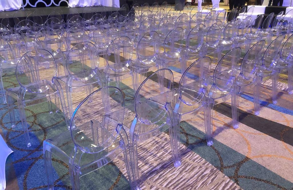 NEW! Clear chairs in polycarbonate now available for rent. Request a quote today!