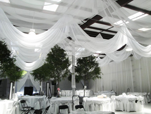 Custom Event Ceiling Treatments In White Chiffon For A Gorgeous Wedding Reception At Private Barn