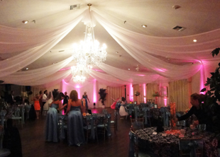 Ceiling Treatments In White Chiffon Made To Size For A Wedding Reception At Beautiful